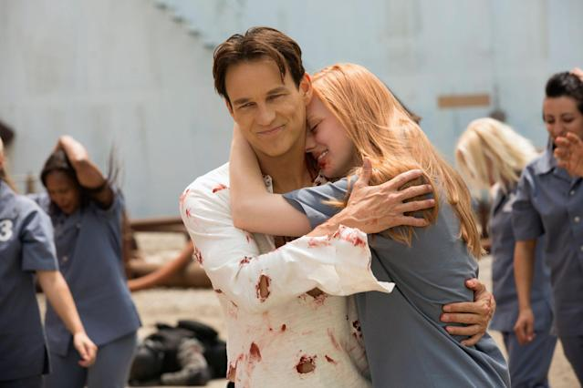 "Stephen Moyer and Deborah Ann Woll in the ""True Blood"" Season 6 episode, ""Life Matters."""