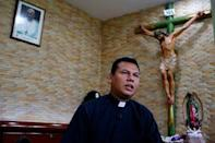 A priest speaks during an interview with Reuters at the Metropolitan Cathedral in Managua, Nicaragua July 20, 2018. REUTERS/Oswaldo Rivas