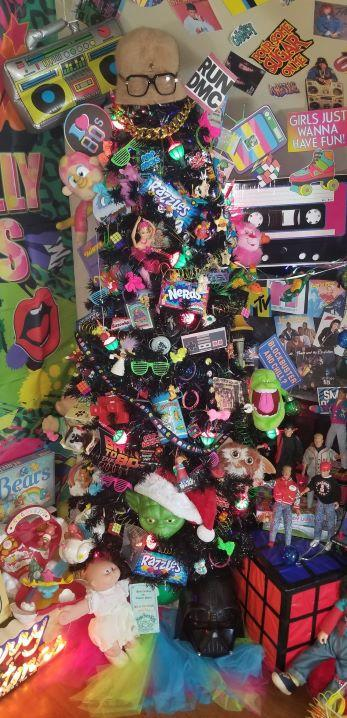 Eva Welch, a Milwaukee resident, made a Christmas tree out of toys from the '80s. (Photo by Eva Welch)