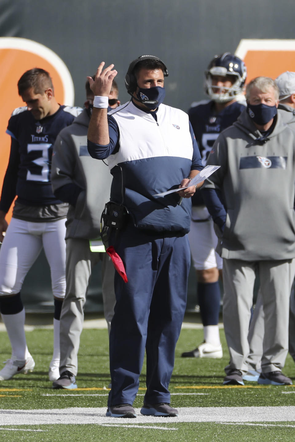 Tennessee Titans head coach Mike Vrabel questions a call during the first half of an NFL football game against the Cincinnati Bengals, Sunday, Nov. 1, 2020, in Cincinnati. (AP Photo/Jay LaPrete)