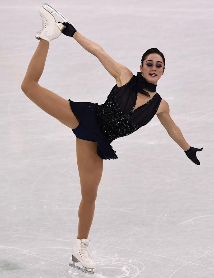 <p>Canada's Kaetlyn Osmond competed in the women's single skating short program of the figure skating in a daring black sequinned number. Her costume features a low-cut to and hundreds of glittering sequins.</p>
