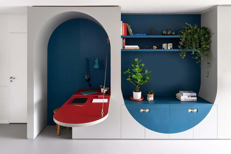 """Architect Ben Allen explains that """"key features such as the desk, bed, and seat are picked out with subdued primary colors."""""""