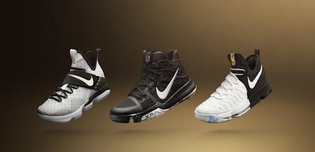 From left to right: the special-edition LeBron 14, Kyrie 3, KD9. (Courtesy of Nike)