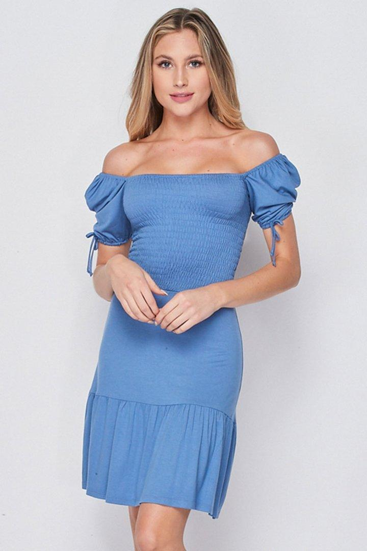 Meghan wore this $39 blue dress by local LA label, Velvet Torch, during a Facetime call with her husband and James Corden. Photo: Velvet Torch.