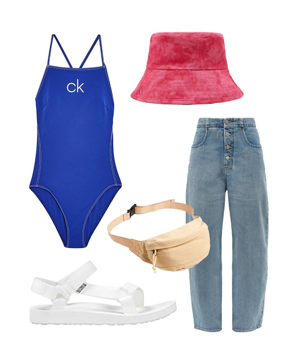 """<p>With the Spice Girls and Westlife on tour it's easy to think we're actually back in the '90s. Pair this Calvin Klein logo swimsuit with a bucket hat and belt bag and you'll have the whole throwback package sorted. Light-wash MM6 Maison Margiela jeans teamed with bright cobalt and tie-dye yellow is the colour combo to embrace this summer. VK Blue, optional.</p><br><br><strong>Calvin Klein</strong> Blue Swimsuit by Calvin Klein, $70, available at <a href=""""https://www.topshop.com/en/tsuk/product/blue-swimsuit-by-calvin-klein-8608761"""" rel=""""nofollow noopener"""" target=""""_blank"""" data-ylk=""""slk:Topshop"""" class=""""link rapid-noclick-resp"""">Topshop</a><br><br><strong>MM6 Maison Margiela</strong> Mid-Rise Wide-Leg Jeans, $290, available at <a href=""""https://www.matchesfashion.com/products/MM6-Maison-Margiela-Mid-rise-wide-leg-jeans-1284023"""" rel=""""nofollow noopener"""" target=""""_blank"""" data-ylk=""""slk:MatchesFashion.com"""" class=""""link rapid-noclick-resp"""">MatchesFashion.com</a><br><br><strong>Teva</strong> Original Universal Sandals In White, $40, available at <a href=""""https://www.asos.com/teva/teva-original-universal-sandals-in-white/prd/11270736"""" rel=""""nofollow noopener"""" target=""""_blank"""" data-ylk=""""slk:ASOS"""" class=""""link rapid-noclick-resp"""">ASOS</a><br><br><strong>Zara</strong> Faded-Effect Bucket Hat, $15.99, available at <a href=""""https://www.zara.com/uk/en/faded-effect-bucket-hat-p00653201.html"""" rel=""""nofollow noopener"""" target=""""_blank"""" data-ylk=""""slk:Zara"""" class=""""link rapid-noclick-resp"""">Zara</a><br><br><strong>Urban Outfitters</strong> Core Canvas Bum Bag, $20, available at <a href=""""https://www.urbanoutfitters.com/en-gb/shop/uo-core-canvas-bum-bag"""" rel=""""nofollow noopener"""" target=""""_blank"""" data-ylk=""""slk:Urban Outfitters"""" class=""""link rapid-noclick-resp"""">Urban Outfitters</a>"""