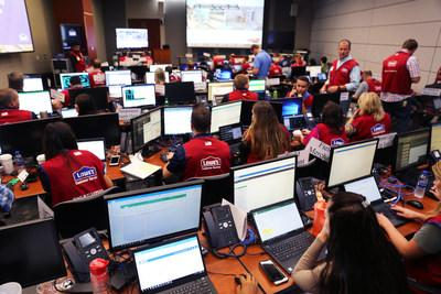 Lowe's Emergency Command Center worked around the clock over the past two weeks to expedite more than 6,000 truckloads of needed supplies to stores, including generators, bottled water, sand, plywood, chainsaws, trash bags, gas cans and tarps.