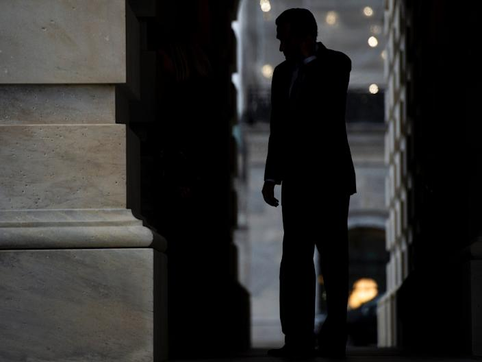 Sen. Mitt Romney departs from the Capitol after the Senate voted to acquit President Donald Trump on Wednesday, Feb. 5, 2020.
