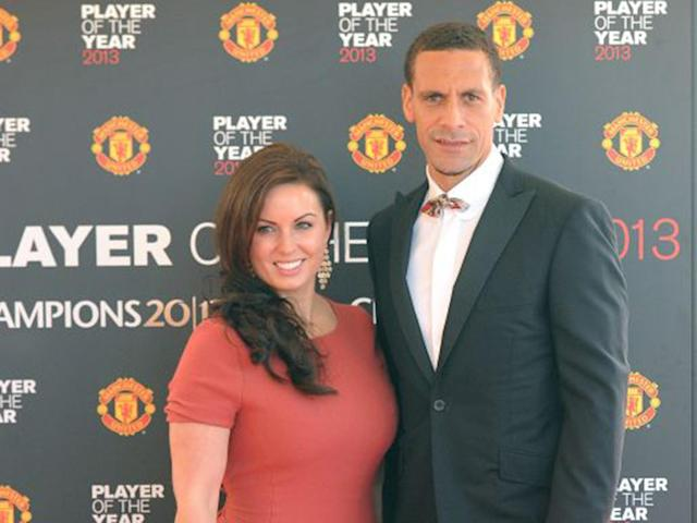 Rio Ferdinand with his late wife Rebecca at Manchester United's annual club awards event in 2013: PA