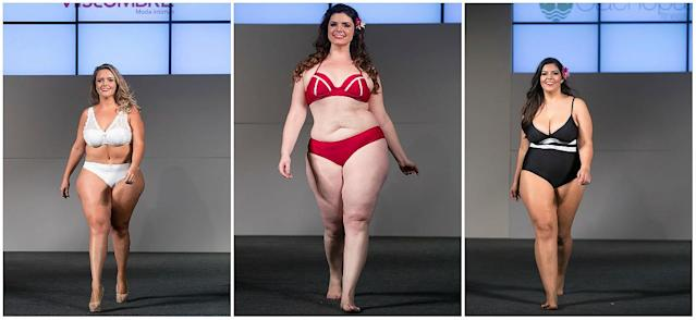 "The 14th annual plus-size fashion weekend in Sao Paulo. ""In the past few years, there has been a great shift in society that encourages the acceptance of differences in other people,"" said Medeiros. ""I often get accused of 'promoting obesity,' and I'd like to clear up the confusion between that and true body positivity."" (Photo: Getty)"
