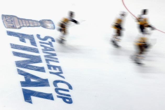 "NASHVILLE, TN – JUNE 03: <a class=""link rapid-noclick-resp"" href=""/nhl/teams/pit/"" data-ylk=""slk:Pittsburgh Penguins"">Pittsburgh Penguins</a> players skate on the ice prior to Game Three of the 2017 NHL Stanley Cup Final against the <a class=""link rapid-noclick-resp"" href=""/nhl/teams/nas/"" data-ylk=""slk:Nashville Predators"">Nashville Predators</a> at the Bridgestone Arena on June 3, 2017 in Nashville, Tennessee. (Photo by Patrick Smith/Getty Images)"