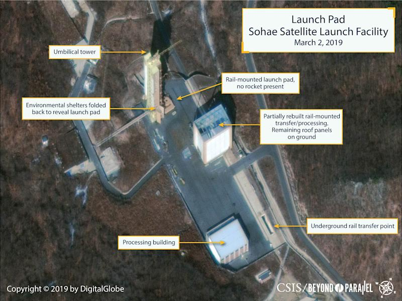 The Sohae Satellite Launching Station launch pad features what researchers describe as the partially rebuilt rail-mounted rocket transfer structure, in a commercial satellite image taken over Tongchang-ri. (Reuters)