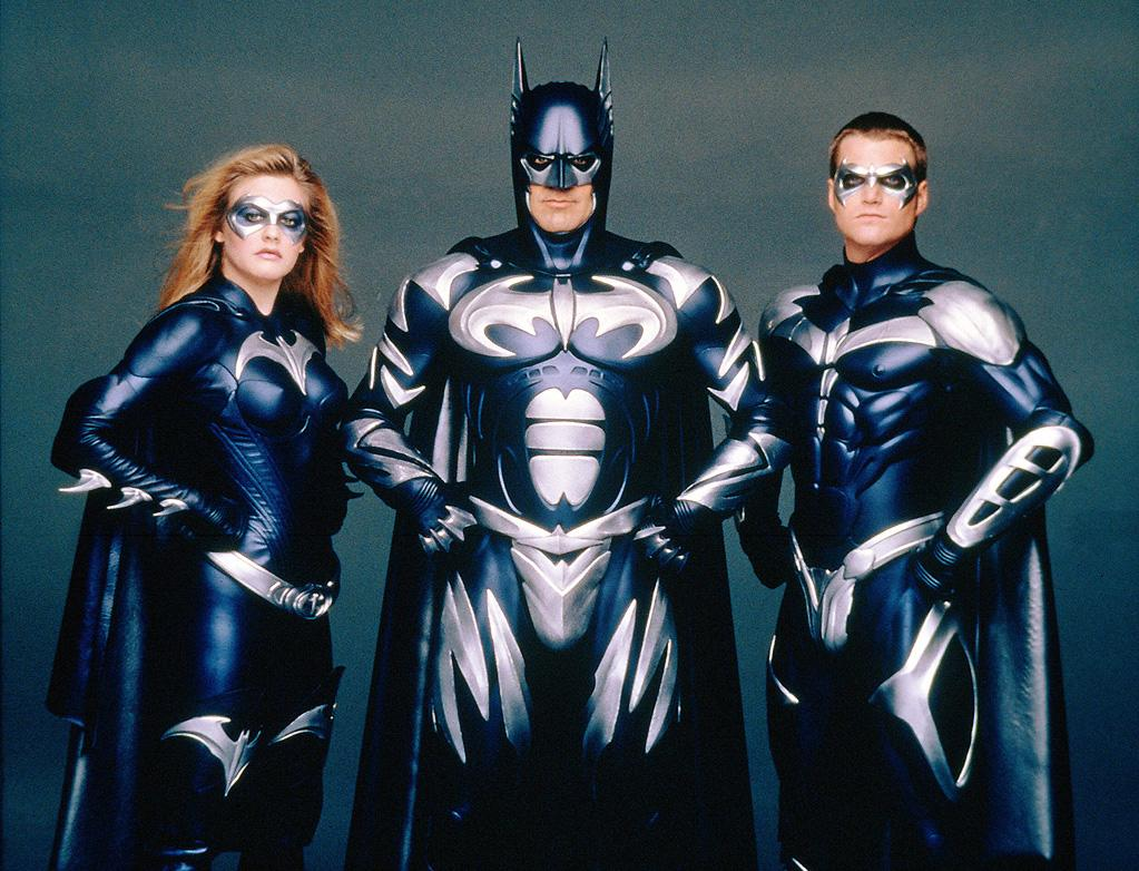 "BATGIRL, BATMAN & ROBIN<br>""<a href=""http://movies.yahoo.com/movie/1800283691/info"">Batman & Robin""</a><br>Grade: F <br>Chiseled chest plates + frosted codpieces + more latex than Lady Gaga = FAIL."