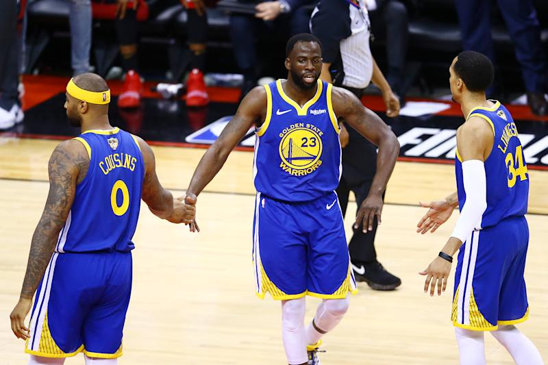 TORONTO, ONTARIO - JUNE 10: Draymond Green #23 of the Golden State Warriors reacts against the Toronto Raptors in the second half during Game Five of the 2019 NBA Finals at Scotiabank Arena on June 10, 2019 in Toronto, Canada. NOTE TO USER: User expressly acknowledges and agrees that, by downloading and or using this photograph, User is consenting to the terms and conditions of the Getty Images License Agreement. (Photo by Vaughn Ridley/Getty Images)