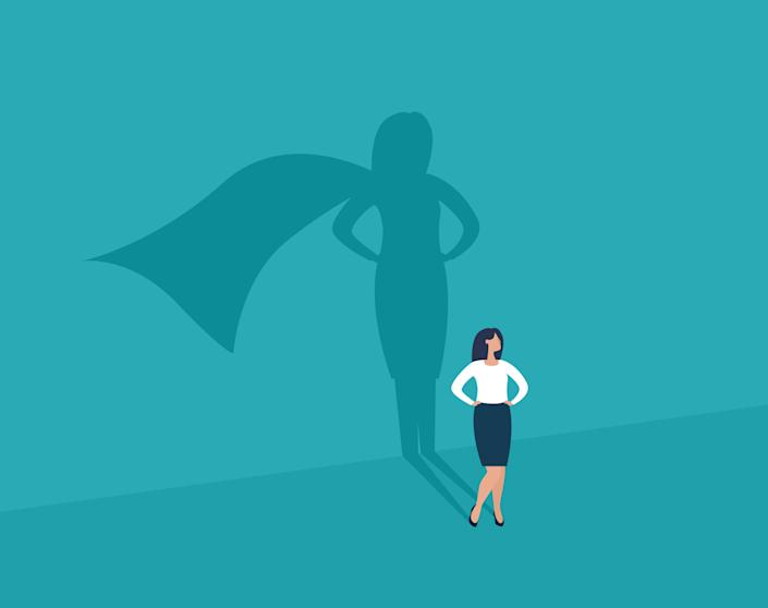 Businesswoman and shadow superhero. Ambition and success vector concept. Vector illustration. EPS10.