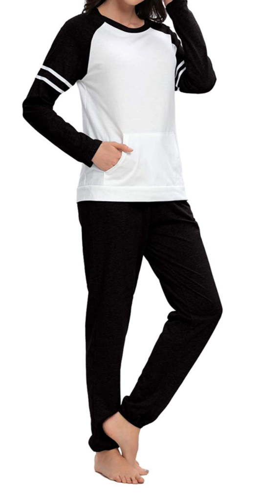 Top-Vigor 100% Cotton Long Sleeve Pyjamas Set in Black and White