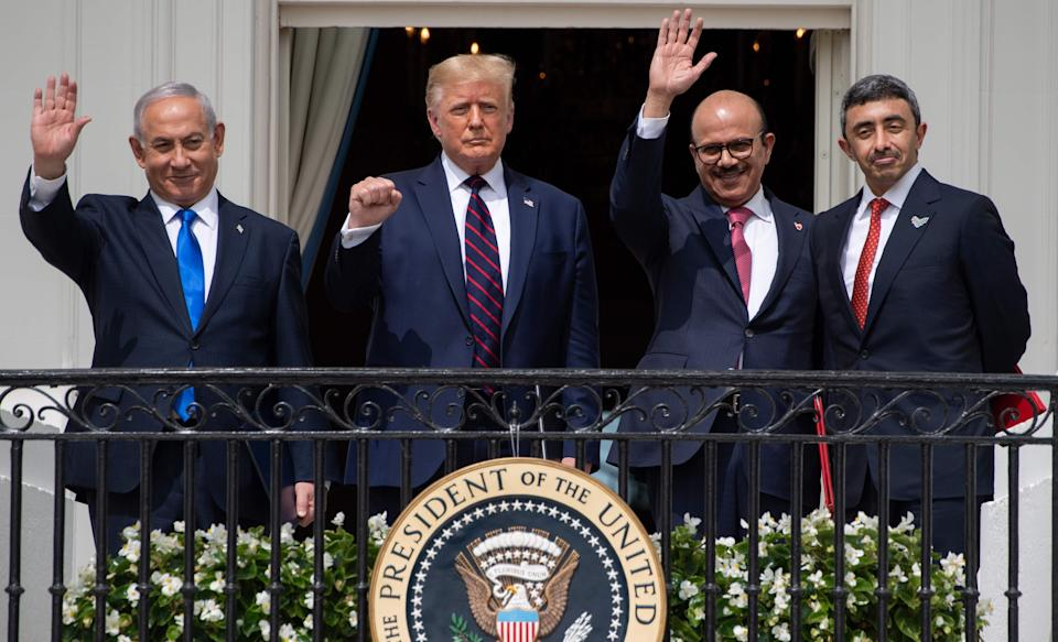 US President Donald Trump at the White House after the signing of the Abraham Accords where the countries of Bahrain and the United Arab Emirates recognised Israel. (Photo by SAUL LOEB/AFP via Getty Images)AFP via Getty Images