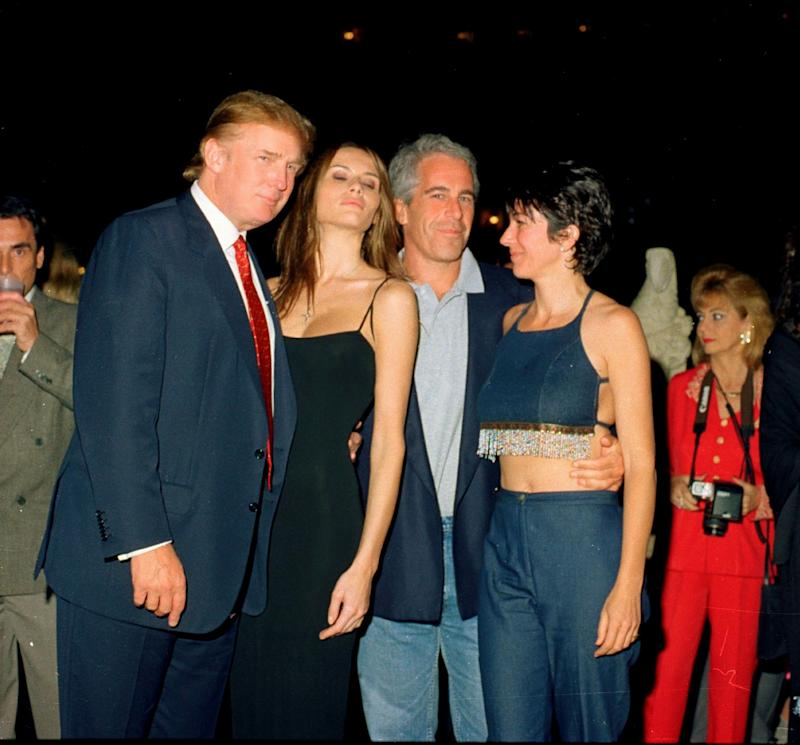 From left, Donald Trump and his girlfriend (and future wife), former model Melania Knauss, financier (and future convicted sex offender) Jeffrey Epstein, and British socialite Ghislaine Maxwell pose together at the Mar-a-Lago club in Palm Beach, Florida on February 12, 2000. (Photo: Davidoff Studios Photography via Getty Images)