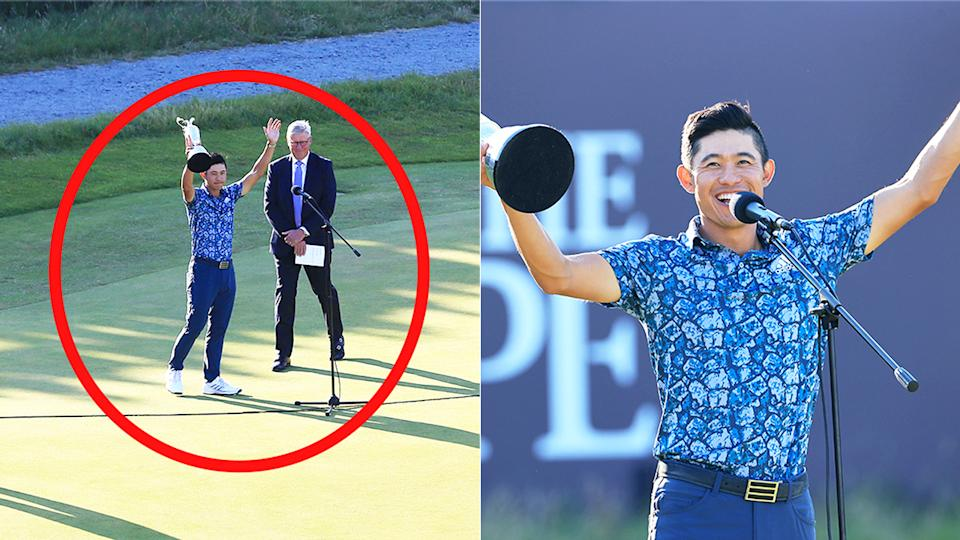 Collin Morikawa (pictured right) smiling during his victory speech and (pictured left) thanking the crowd at the British Open.
