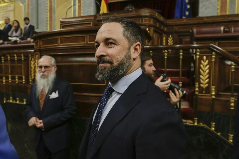 El líder de Vox, Santiago Abascal. (AP Photo/Paul White)