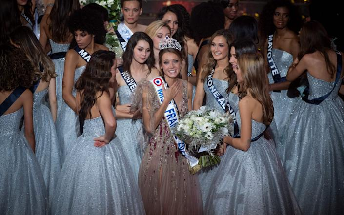 Newly elected Miss France 2021 Miss Normandie Amandine Petit reacts as she is elected Miss France 2021 - AFP