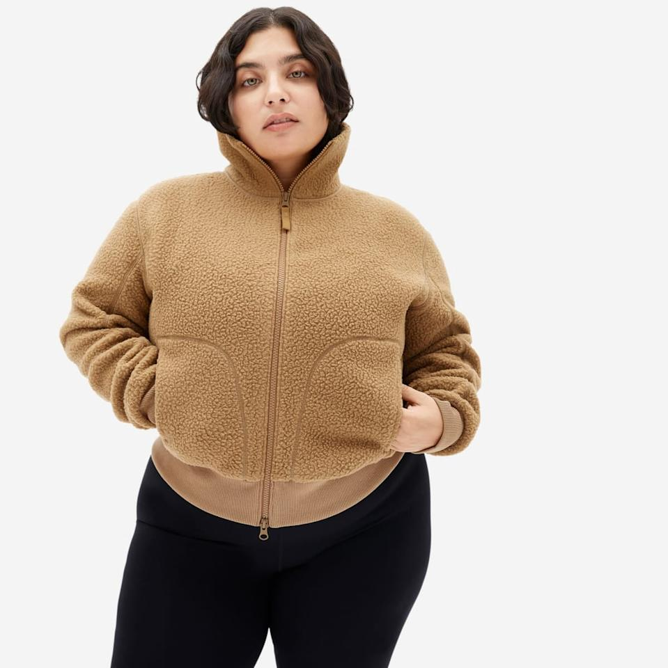 """<h2>ReNew Teddy Bomber<br></h2><br>One of the brand's newest release is selling like actual hotcakes: the fluffy-chic teddy bomber, a go-with-everything layer that's perfect for apple-picking temperatures. The ochre colorway (pictured here) still has a healthy size run remaining — so run, don't walk.<br><br><br><strong>Everlane</strong> The ReNew Teddy Bomber, $, available at <a href=""""https://go.skimresources.com/?id=30283X879131&url=https%3A%2F%2Fwww.everlane.com%2Fproducts%2Fwomens-renew-teddy-bomber-jacket-ochre"""" rel=""""nofollow noopener"""" target=""""_blank"""" data-ylk=""""slk:Everlane"""" class=""""link rapid-noclick-resp"""">Everlane</a>"""