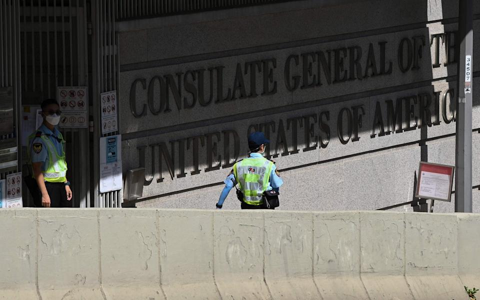 The US consulate near to which Mr Chung and two others were arrested by Hong Kong police - PETER PARKS /AFP