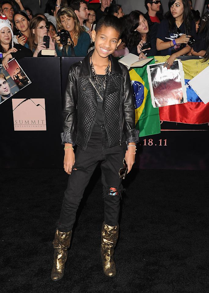 "<a href=""http://movies.yahoo.com/movie/contributor/1809878436"">Willow Smith</a> at the Los Angeles premiere of <a href=""http://movies.yahoo.com/movie/1810158314/info"">The Twilight Saga: Breaking Dawn - Part 1</a> on November 14, 2011."