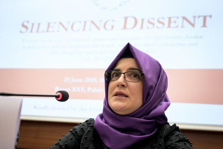 Turkish writer and fiancee of the murdered Saudi journalist's fiancee Hatice Cengiz urged the rights council to take action (AFP Photo/FABRICE COFFRINI)