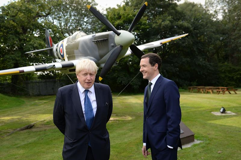 The Mayor of London Boris Johnson (left) and the Chancellor of the Exchequer, George Osborne visit the Battle of Britain Bunker in Uxbridge to see how a new £1m investment, committed in the recent Budget, will help to restore the historic site.