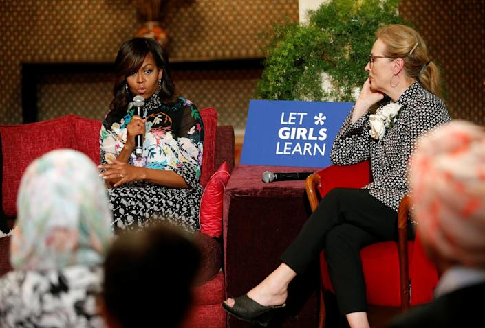 """<p>U.S first lady Michelle Obama speaks next to actress Meryl Streep during a conversation with Moroccan adolescent girls moderated by CNN's Isha Sesay following the """"Let Girls Learn"""" program in Marrakech, Morocco June 28, 2016. (REUTERS/Youssef Boudlal) </p>"""
