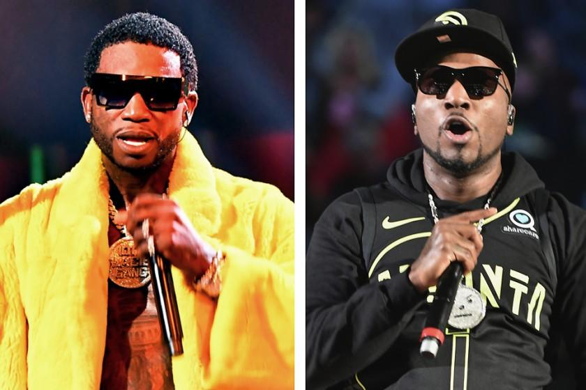 (L-R)Composite: Gucci Mane performs onstage during the BET Hip Hop Awards 2018 at Fillmore Miami Beach. Recording Artist Jeezy performs at halftime at the Detroit Pistons vs Atlanta Hawks game at Phillips Arena on December 14, 2017 in Atlanta, Georgia.