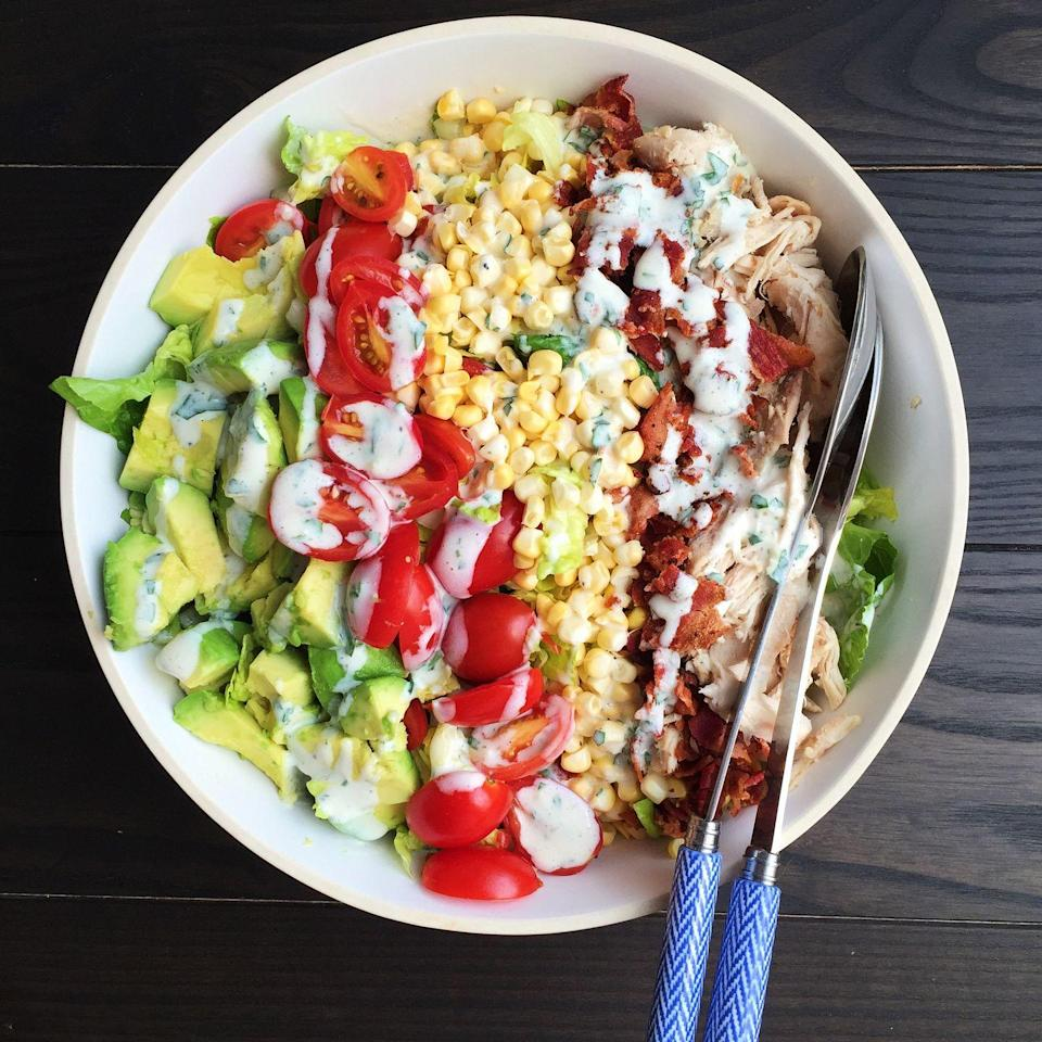 """<p>This riff on the classic cobb is almost too gorge to eat.</p><p>Get the recipe from <a href=""""https://www.delish.com/cooking/recipe-ideas/recipes/a43232/summery-cobb-salad-buttermilk-dressing-recipe/"""" rel=""""nofollow noopener"""" target=""""_blank"""" data-ylk=""""slk:Delish"""" class=""""link rapid-noclick-resp"""">Delish</a>.</p><p><a class=""""link rapid-noclick-resp"""" href=""""https://www.amazon.com/dp/1328498867/?tag=syn-yahoo-20&ascsubtag=%5Bartid%7C1782.g.3338%5Bsrc%7Cyahoo-us"""" rel=""""nofollow noopener"""" target=""""_blank"""" data-ylk=""""slk:GET YOURS NOW!"""">GET YOURS NOW!</a> <strong><em>Delish Cookbook, amazon.com</em></strong><br></p>"""