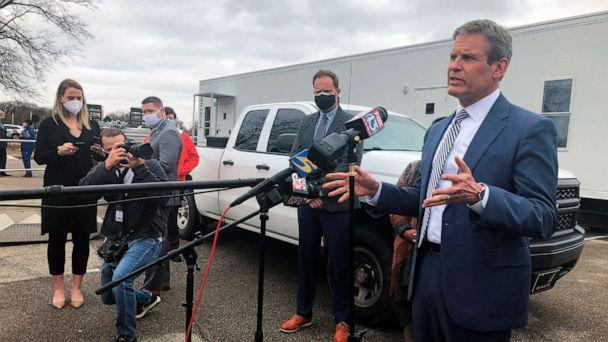 PHOTO: Tennessee Gov. Bill Lee speaks with reporters about vaccine distribution problems in the state's most populous county on Friday, Feb. 26, 2021, in Memphis, Tenn. (Adrian Sainz/AP)