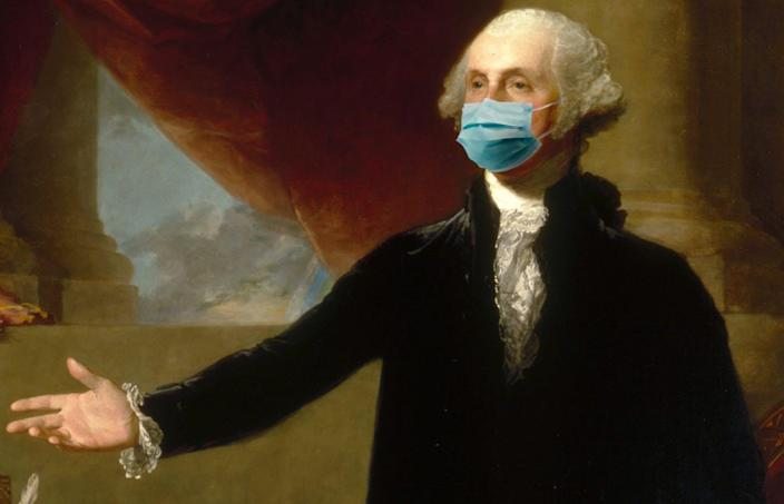 "<span class=""caption"">George Washington would have thought wearing a mask was manly.</span> <span class=""attribution""><a class=""link rapid-noclick-resp"" href=""https://npg.si.edu/object/npg_NPG.2001.13?destination=node/63231%3Fedan_q%3DGilbert%2520Stuart%2520George%2520Washington"" rel=""nofollow noopener"" target=""_blank"" data-ylk=""slk:National Portrait Gallery, Gilbert Stuart portrait/A. Papolu, illustration"">National Portrait Gallery, Gilbert Stuart portrait/A. Papolu, illustration</a></span>"