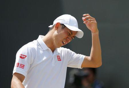 Tennis - Wimbledon - London, Britain - July 7, 2017 Japan's Kei Nishikori reacts during his third round match against Spain's Roberto Bautista Agut REUTERS/Andrew Couldridge