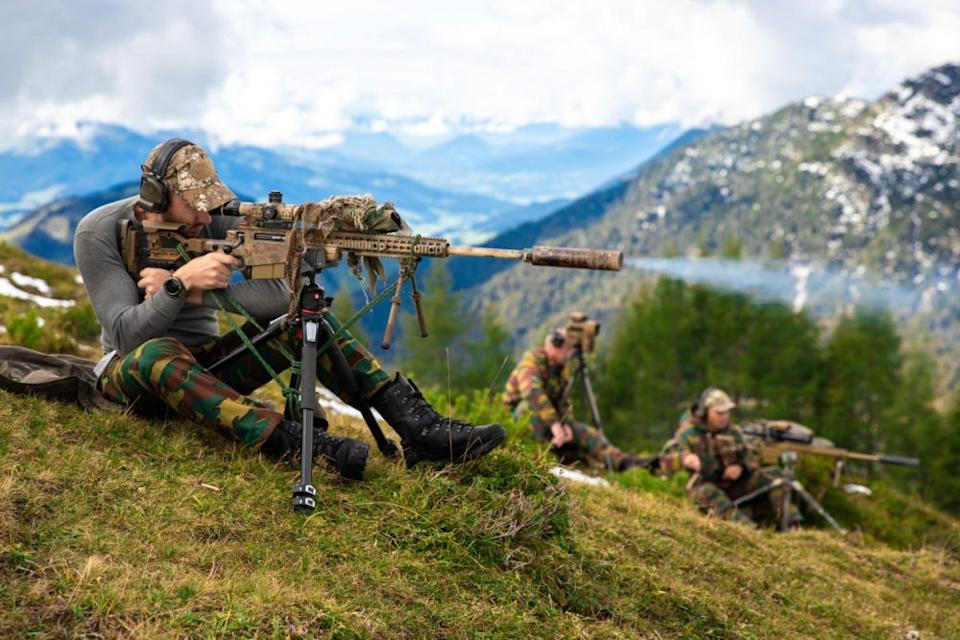 Belgian Special Forces sniper teams fire upon long-range targets from an elevated shooting range