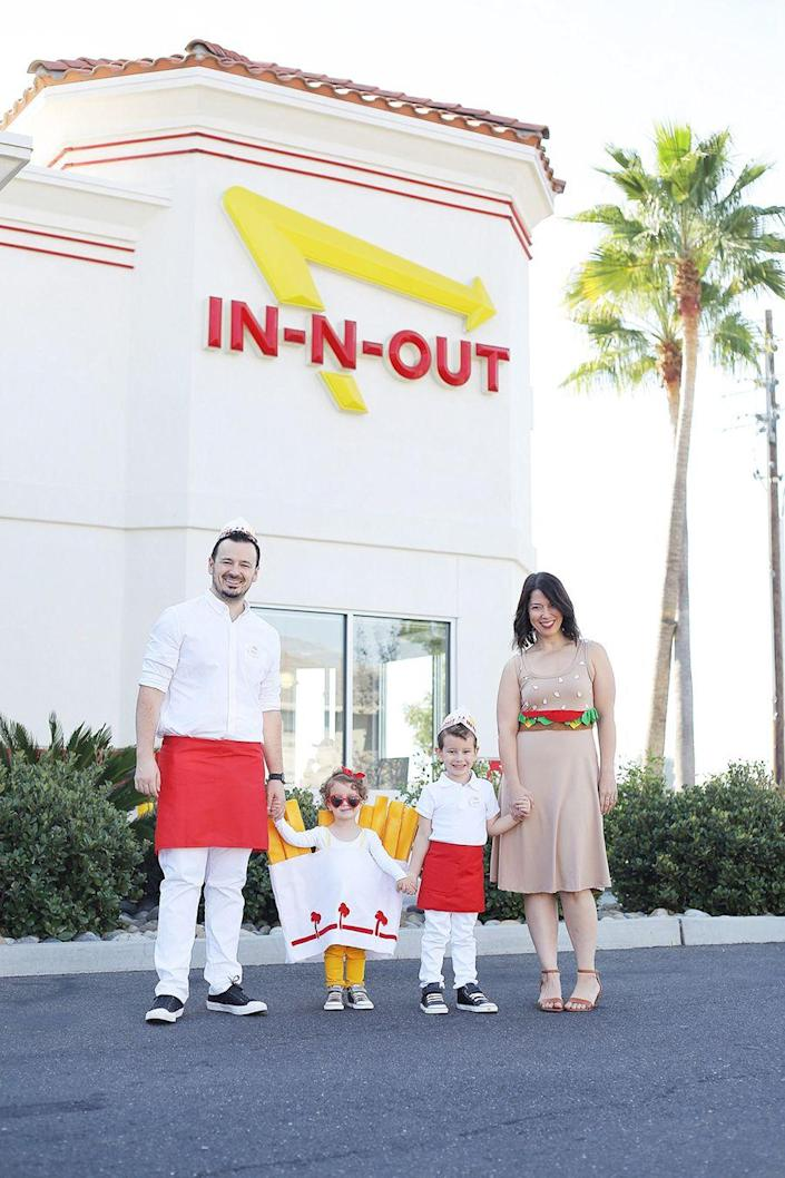 """<p>Yes, it's fully possible to make a burger and fries look cute! Honor your fave fast food chain with this delightful group costume. </p><p><strong>Get the tutorial at <a href=""""https://lovelyindeed.com/group-halloween-costume-in-n-out/"""" rel=""""nofollow noopener"""" target=""""_blank"""" data-ylk=""""slk:Lovely Indeed."""" class=""""link rapid-noclick-resp"""">Lovely Indeed.</a> </strong></p><p><a class=""""link rapid-noclick-resp"""" href=""""https://www.amazon.com/Chef-Works-12-Inch-Length-23-Inch/dp/B002JM16GE/ref=sr_1_6?dchild=1&keywords=red+half+apron&qid=1627654035&sr=8-6&tag=syn-yahoo-20&ascsubtag=%5Bartid%7C10050.g.32906192%5Bsrc%7Cyahoo-us"""" rel=""""nofollow noopener"""" target=""""_blank"""" data-ylk=""""slk:Shop red waist aprons"""">Shop red waist aprons</a><strong><br></strong></p>"""