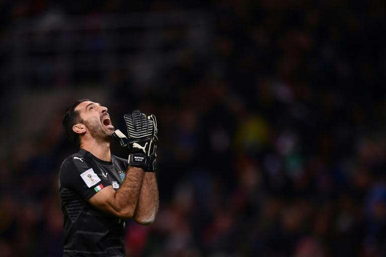 Italy's goalkeeper and captain Gianluigi Buffon reacts during the FIFA World Cup 2018 qualification match against Sweden, on November 13, 2017 at the San Siro stadium in Milan