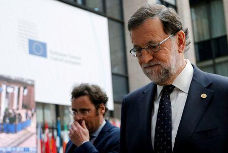 Spain's Prime Minister Mariano Rajoy leaves at the end of the second day of the EU Summit in Brussels, Belgium, June 29, 2016. REUTERS/Francois Lenoir