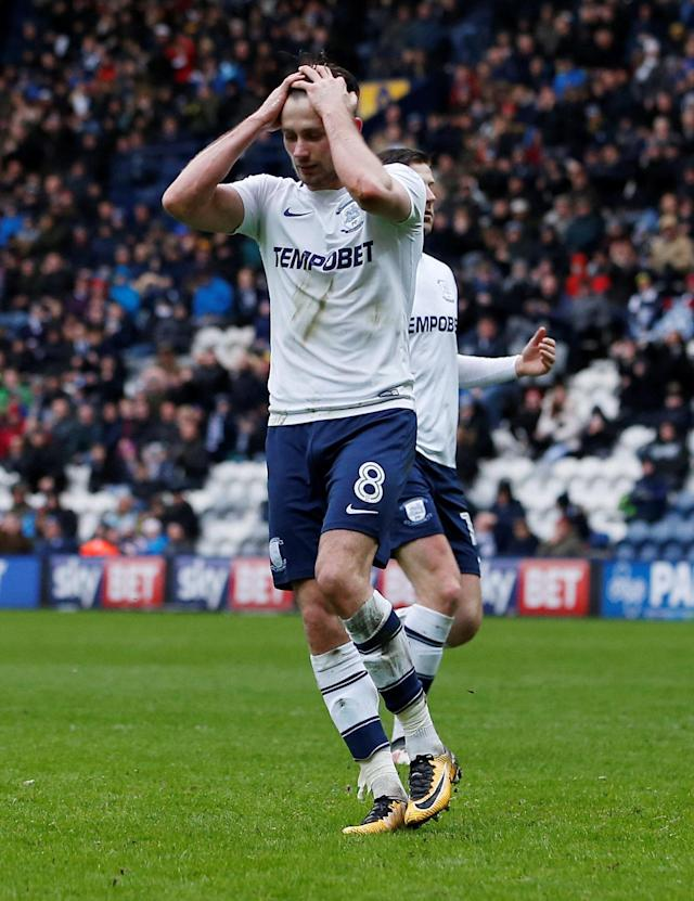 "Soccer Football - Championship - Preston North End vs Derby County - Deepdale, Preston, Britain - April 2, 2018 Preston North End's Alan Browne reacts after missing a penalty Action Images/Craig Brough EDITORIAL USE ONLY. No use with unauthorized audio, video, data, fixture lists, club/league logos or ""live"" services. Online in-match use limited to 75 images, no video emulation. No use in betting, games or single club/league/player publications. Please contact your account representative for further details."