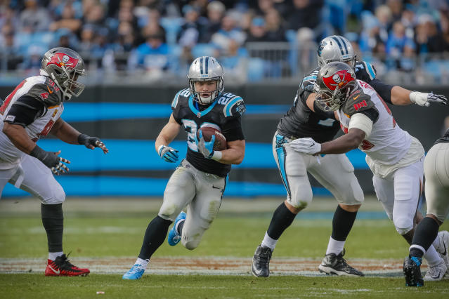 Christian McCaffrey was a PPR monster in 2017, but he's still stuck in committee. (AP Photo/Bob Leverone)