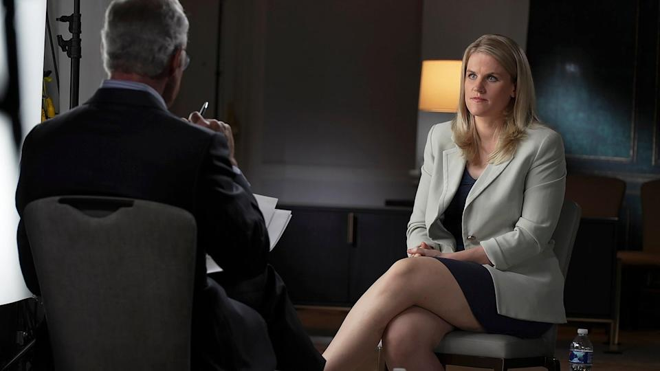 """In this Sept. 16, 2021, photo provided by CBS, Facebook whistleblower Frances Haugen talks with CBS' Scott Pelley on """"60 Minutes,"""" in an episode that aired Sunday, Oct. 3. (AP)"""