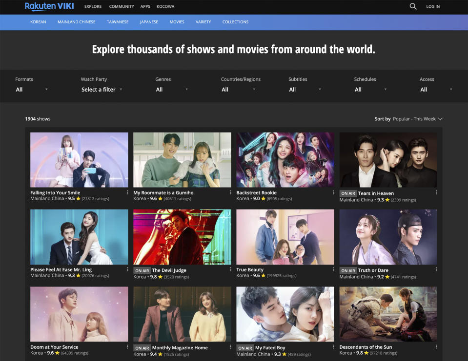 This image released by Ratuken Viki shows the homepage for their video streaming service. South Korean TV shows, often referred to as K-Dramas, are growing in popularity. Some fans are so dedicated they volunteer to translate the shows' subtitles to their native language. (Ratuken Viki via AP)