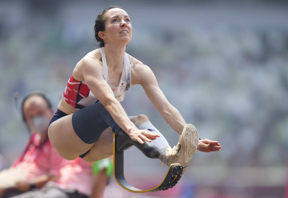Stef Reid from Great Britain at long jump  during athletics at the Tokyo  Paralympics, Tokyo Olympic Stadium, Tokyo, Japan on August 28, 2021. (Photo by Ulrik Pedersen/NurPhoto via Getty Images)