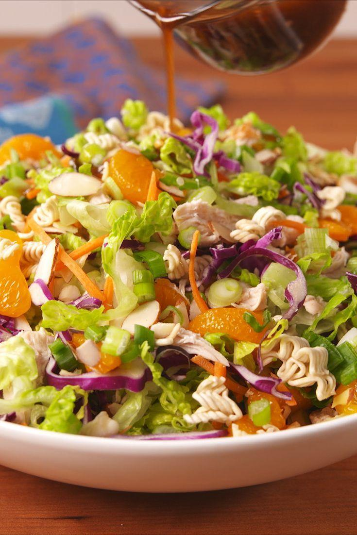 """<p>This Chinese chicken salad is fresh and full of crunchy ramen, sweet mandarins, and crisp cabbage. It's our favourite salad to bring along to any summer bbq and what we make when we need an easy lunch.</p><p>Get the <a href=""""https://www.delish.com/uk/cooking/recipes/a31109543/chinese-chicken-salad-recipe/"""" rel=""""nofollow noopener"""" target=""""_blank"""" data-ylk=""""slk:Chinese Chicken Mandarin Salad"""" class=""""link rapid-noclick-resp"""">Chinese Chicken Mandarin Salad</a> recipe.</p>"""