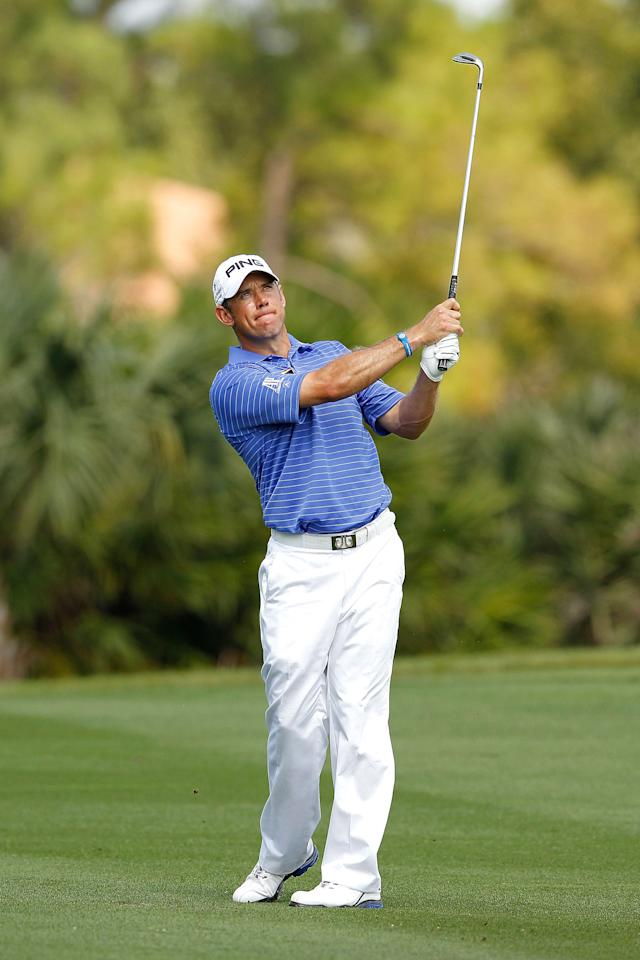 PALM BEACH GARDENS, FL - MARCH 03: Lee Westwood of England hits his approach on the thrid hole during the third round of the Honda Classic at PGA National on March 3, 2012 in Palm Beach Gardens, Florida.  (Photo by Mike Ehrmann/Getty Images)