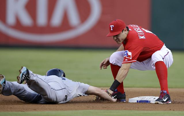 Seattle Mariners' Kyle Seager (15) is picked off trying to get back to second by Texas Rangers' Ian Kinsler in the first inning of a baseball game, Saturday, Aug. 17, 2013, in Arlington, Texas. The play developed on the throw from pitcher Martin Perez to Kinsler. (AP Photo/Tony Gutierrez)