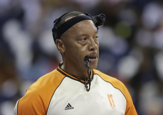 Official Lamont Simpson watches play during the first half of Game 3 of the WNBA Finals basketball game, between the Atlanta Dream and the Minnesota Lynx in Duluth, Ga., Thursday, Oct. 10, 2013. (AP Photo/John Bazemore)