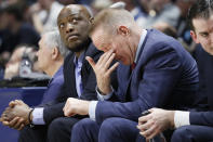 St. John's head coach Chris Mullin reacts on the bench in the second half of an NCAA college basketball game against Xavier, Saturday, March 9, 2019, in Cincinnati. (AP Photo/John Minchillo)
