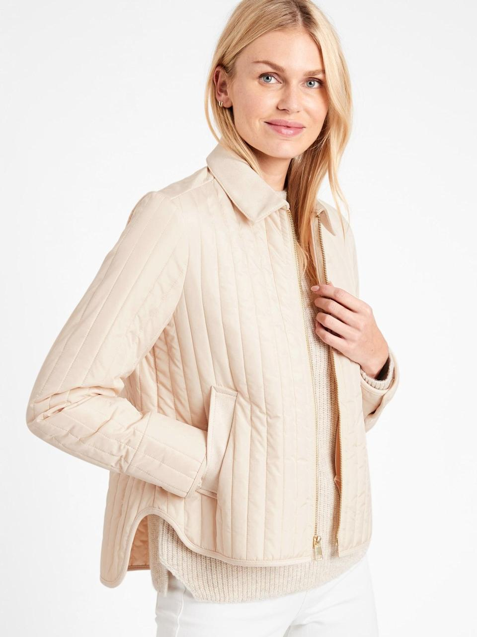 <p>Stay warm in this <span>Water-Resistant Quilted Barn Jacket</span> ($152, originally $169).</p>